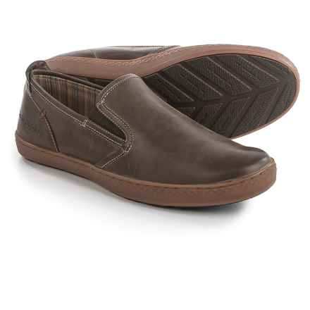 Hush Puppies Goal Roadcrew Shoes - Suede, Slip-Ons (For Men) in Dark Brown Leather - Closeouts