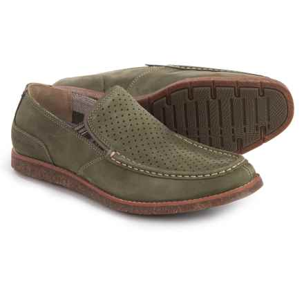 Hush Puppies Lorens Jester Loafers - Leather (For Men) in Olive Nubuck - Closeouts