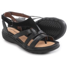 Hush Puppies Maben Keaton Sandals - Leather (For Women) in Black Leather/Suede - Closeouts
