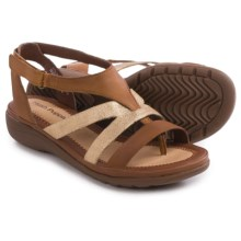 Hush Puppies Maben Keaton Sandals - Leather (For Women) in Tan Leather/Metallic Suede - Closeouts