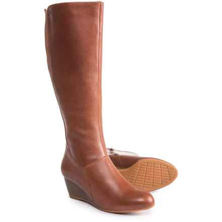 Hush Puppies Pynical Rhea Tall Wedge Boots - Waterproof, Insulated, Leather (For Women) in Tan Waterproof Leather - Closeouts