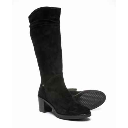 Hush Puppies Saun Olivya Tall Boots - Suede (For Women) in Black Suede - Closeouts