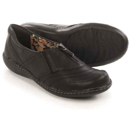 Hush Puppies Soft Style Jennica Flats - Leather, Zip Vamp (For Women) in Black - Closeouts