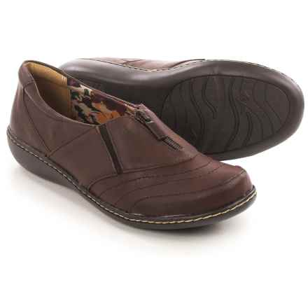Hush Puppies Soft Style Jennica Flats - Leather, Zip Vamp (For Women) in Dark Brown - Closeouts