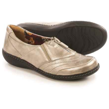 Hush Puppies Soft Style Jennica Flats - Leather, Zip Vamp (For Women) in Dark Pewter - Closeouts