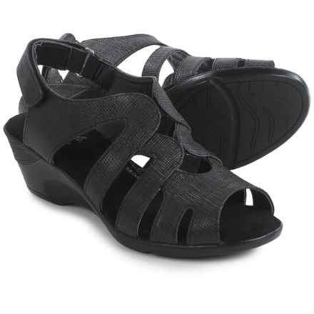 Hush Puppies Soft Style Patsie Wedge Sandals (For Women) in Black Cambric - Closeouts