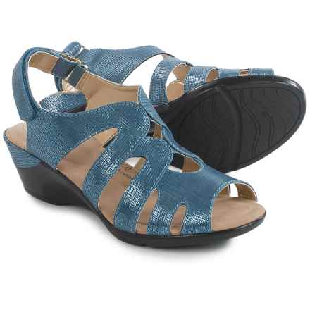 Hush Puppies Soft Style Patsie Wedge Sandals (For Women) in Mid Blue Cambric - Closeouts