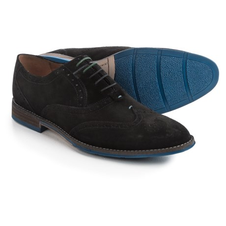 Hush Puppies Style Brogue Oxford Shoes - Suede (For Men) in Black Suede