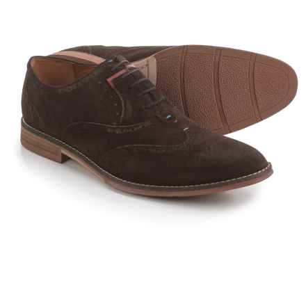 Hush Puppies Style Brogue Oxford Shoes - Suede (For Men) in Dark Brown Suede - Closeouts