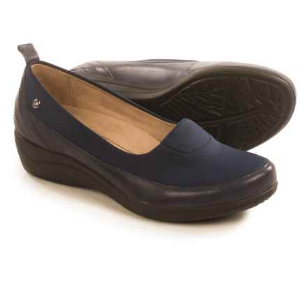 Hush Puppies Valoia Oleena Shoes - Leather, Slip-Ons (For Women) in Navy - Closeouts
