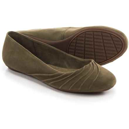 Hush Puppies Zella Chaste Ballet Flats - Leather (For Women) in Dark Olive Suede - Closeouts