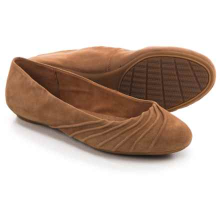 Hush Puppies Zella Chaste Ballet Flats - Leather (For Women) in Tan Suede - Closeouts