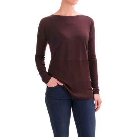 Hybrid Knit-Chiffon Shirt - Long Sleeve (For Women) in Wine - 2nds