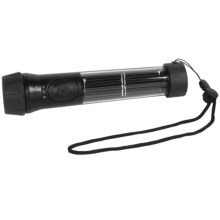 Hybrid Light Dual Power LED Flashlight with Solar Keychain Light in Black - Closeouts