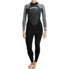 Hyperflex Pipeline Full Wetsuit - 3/2mm (For Women) in Black/Aqua/Grey - Closeouts