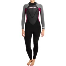 Hyperflex Pipeline Full Wetsuit - 3/2mm (For Women) in Black/Berry/Grey - Closeouts