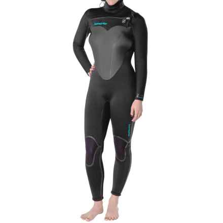 Hyperflex Skull Hooded Front Zip Full Wetsuit - 5/4/3mm (For Women) in Black/Green - Closeouts