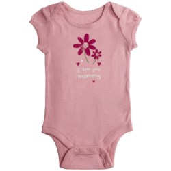 I Love Graphic Baby Bodysuit - Short Sleeve (For Infant Girls) in Pink