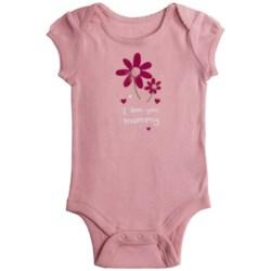 I Love Graphic Baby Bodysuit - Short Sleeve (For Infant Girls) in White