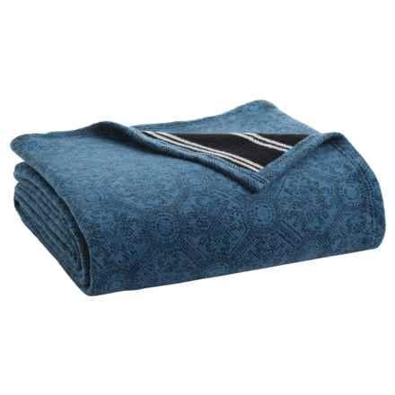 Ibena Sorrento Tiles Bed Blanket - Queen in Blue - Closeouts
