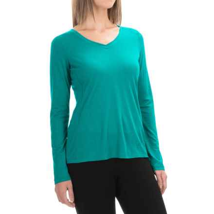 Ibex All Day Long V-Neck Shirt - Merino Wool, Long Sleeve (For Women) in Waterfall - Closeouts