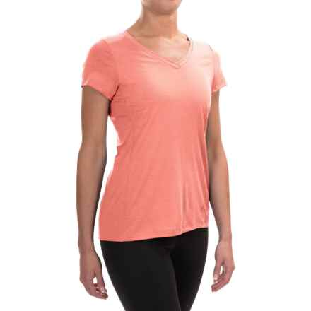 Ibex All Day Long V-Neck Shirt - Merino Wool, Short Sleeve (For Women) in Daybreak - Closeouts
