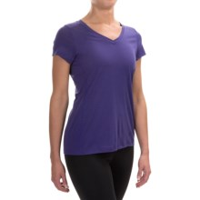 Ibex All Day Long V-Neck Shirt - Merino Wool, Short Sleeve (For Women) in Iris - Closeouts