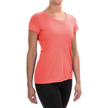 Ibex All Day Long V-Neck Shirt - Merino Wool, Short Sleeve (For Women) in Watermelon - Closeouts