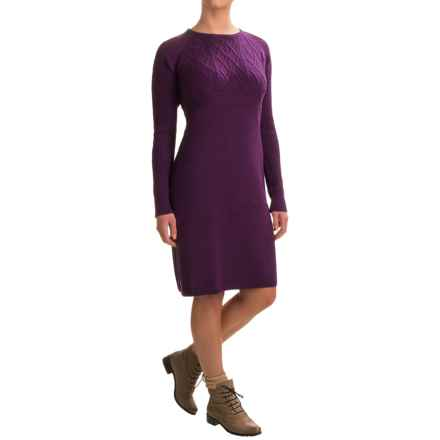 Ibex Arranmore Sweater Dress - Merino Wool, Long Sleeve (For Women) in Boysenberry Heather - Closeouts
