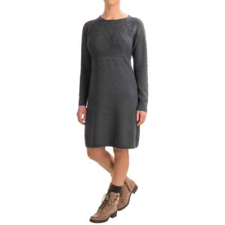 Ibex Arranmore Sweater Dress - Merino Wool, Long Sleeve (For Women) in Pewter Heather - Closeouts
