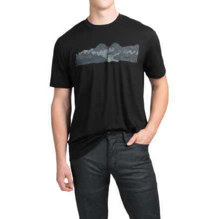 Ibex Art Printed T-Shirt - Merino Wool, Short Sleeve (For Men) in White Clouds/Black - Closeouts