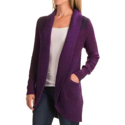 Ibex Chroma Cardigan Sweater - Merino Wool (For Women) in Boysenberry Heather - Closeouts