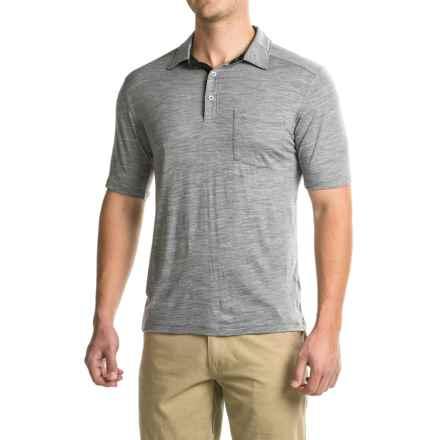 Ibex Crosstown Polo Shirt - Merino Wool, Short Sleeve (For Men) in Stone Grey - Closeouts