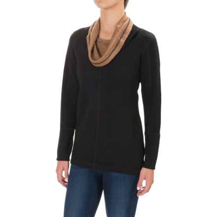 Ibex Dyad Cowl Neck Shirt - Merino Wool, Long Sleeve (For Women) in Black/Camel - Closeouts