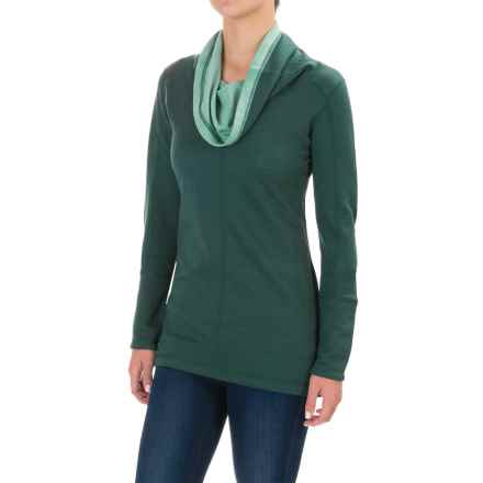Ibex Dyad Cowl Neck Shirt - Merino Wool, Long Sleeve (For Women) in Jasper/Meadow - Closeouts