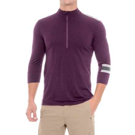 Ibex Enduro Mountain Bike Jersey - Merino Wool, Zip Neck, 3/4 Sleeve (For Men) in Purple Fauna Heather - Closeouts