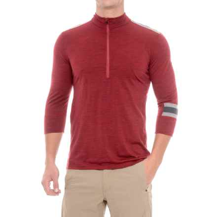 Ibex Enduro Mountain Bike Jersey - Merino Wool, Zip Neck, 3/4 Sleeve (For Men) in Red Ant Heather - Closeouts