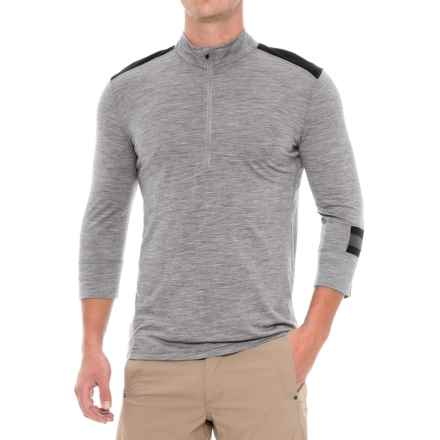 Ibex Enduro Mountain Bike Jersey - Merino Wool, Zip Neck, 3/4 Sleeve (For Men) in Stone Grey Heather - Closeouts