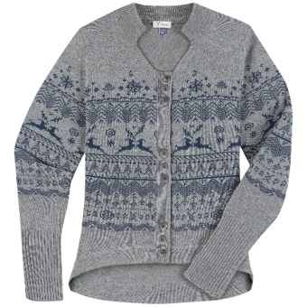 Ibex Fair Isle Cardigan Sweater - Lambswool-Cashmere (For Women) in Charcoal Heather/Deep Atlantic