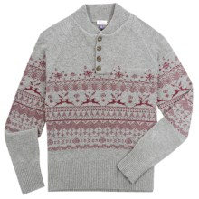 Ibex Fair Isle Sweater - Lambswool-Cashmere (For Men) in Charcoal Heather - Closeouts