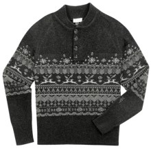 Ibex Fair Isle Sweater - Lambswool-Cashmere (For Men) in Ebony Heather - Closeouts