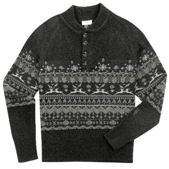 Ibex Fair Isle Sweater - Lambswool-Cashmere (For Men) in Ebony Heather