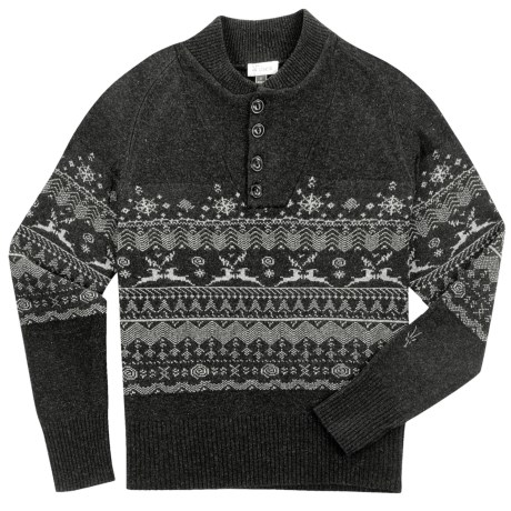 Ibex Fair Isle Sweater - Lambswool-Cashmere (For Men) in Charcoal Heather