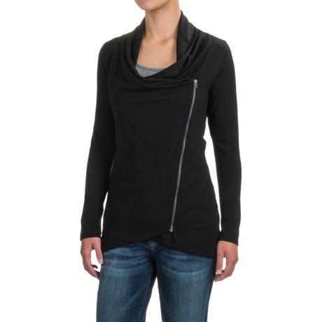 Ibex Freya Cardigan Shirt - Merino Wool, Long Sleeve (For Women) in Black