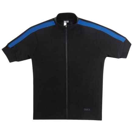 Ibex Giro Cycling Jersey - Merino Wool, Full Zip, Short Sleeve (For Men) in Black - Closeouts