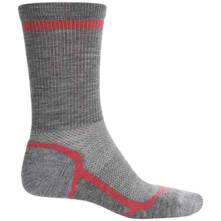 Ibex Hiker Socks - Merino Wool Blend, Crew (For Men and Women) in Grey Heather/Winter Cherry - Closeouts