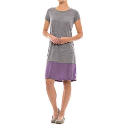 Ibex Hildie Dress - Merino Wool, Short Sleeve (For Women) in Stone Grey Heather - Closeouts