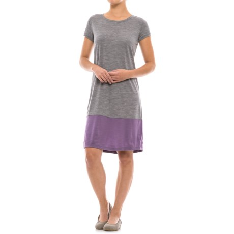 Ibex Hildie Dress - Merino Wool, Short Sleeve (For Women) in Stone Grey Heather