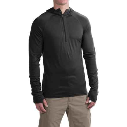 Ibex Indie Hoodie - Merino Wool, Zip Neck (For Men) in Black - Closeouts