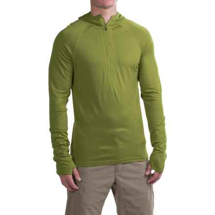 Ibex Indie Hoodie - Merino Wool, Zip Neck (For Men) in Peat Moss - Closeouts